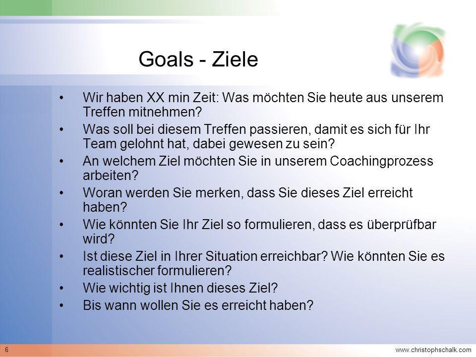 Goals - Ziele Wir haben XX min Zeit: Was möchten Sie heute aus unserem Treffen mitnehmen