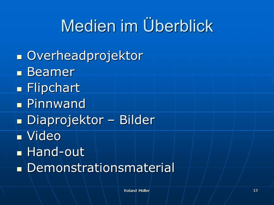 Medien im Überblick Overheadprojektor Beamer Flipchart Pinnwand