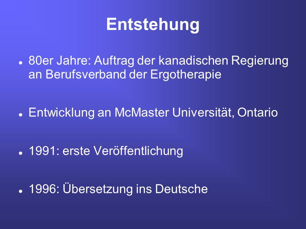 Entstehung 80er Jahre: Auftrag der kanadischen Regierung an Berufsverband der Ergotherapie. Entwicklung an McMaster Universität, Ontario.