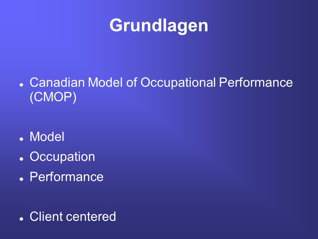 Grundlagen Canadian Model of Occupational Performance (CMOP) Model