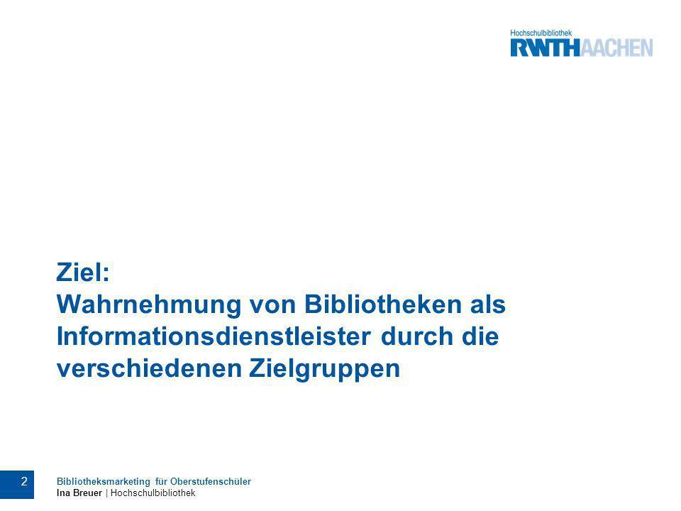 Ziel: Wahrnehmung von Bibliotheken als Informationsdienstleister durch die verschiedenen Zielgruppen