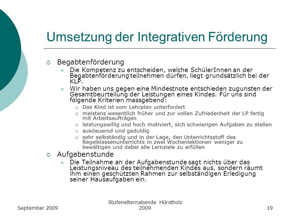 Umsetzung der Integrativen Förderung