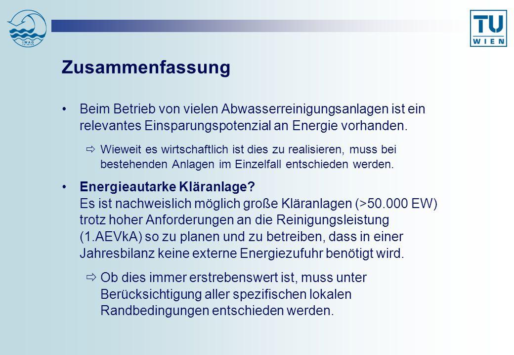 Zusammenfassung Beim Betrieb von vielen Abwasserreinigungsanlagen ist ein relevantes Einsparungspotenzial an Energie vorhanden.