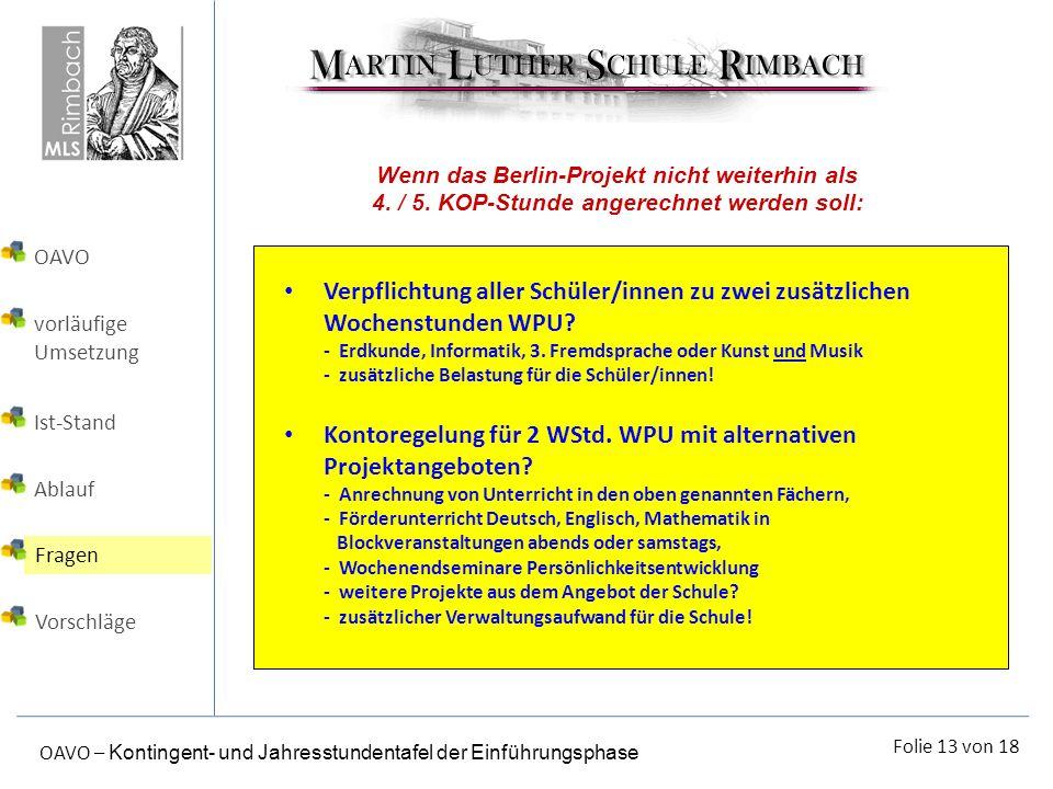 Wenn das Berlin-Projekt nicht weiterhin als 4. / 5