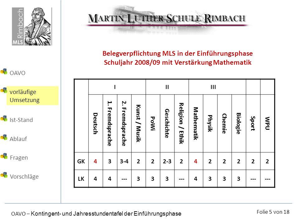 Belegverpflichtung MLS in der Einführungsphase Schuljahr 2008/09 mit Verstärkung Mathematik
