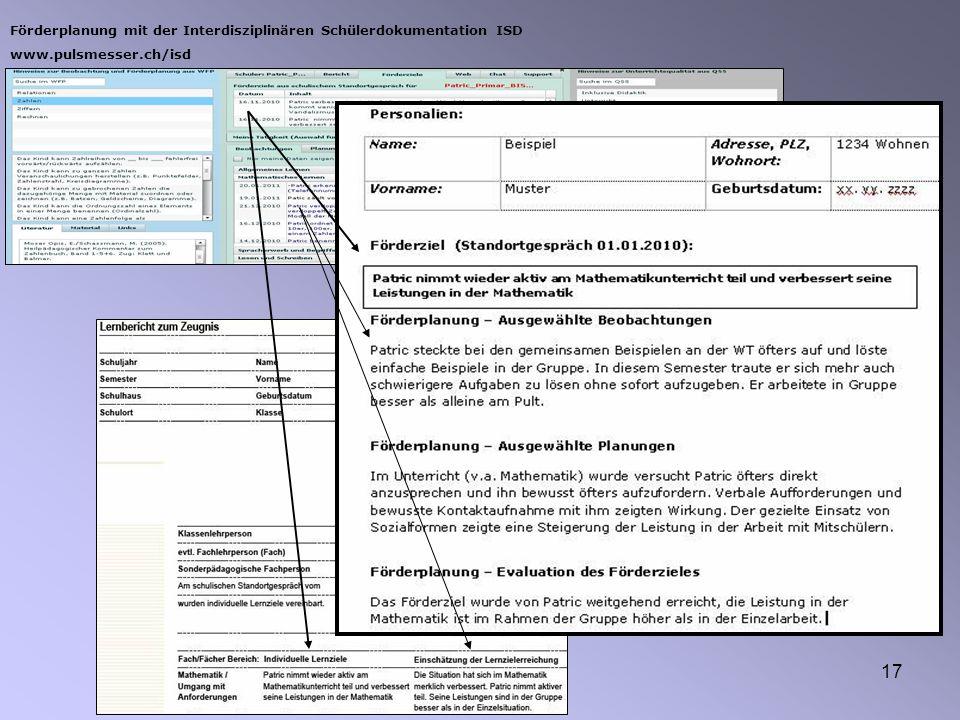 Förderplanung mit der Interdisziplinären Schülerdokumentation ISD