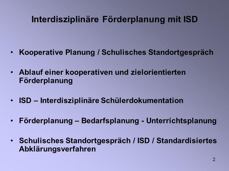 Interdisziplinäre Förderplanung mit ISD