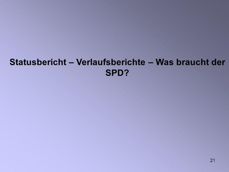 Statusbericht – Verlaufsberichte – Was braucht der SPD