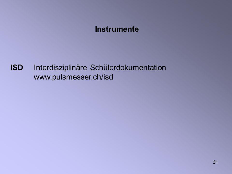 Instrumente ISD Interdisziplinäre Schülerdokumentation www.pulsmesser.ch/isd