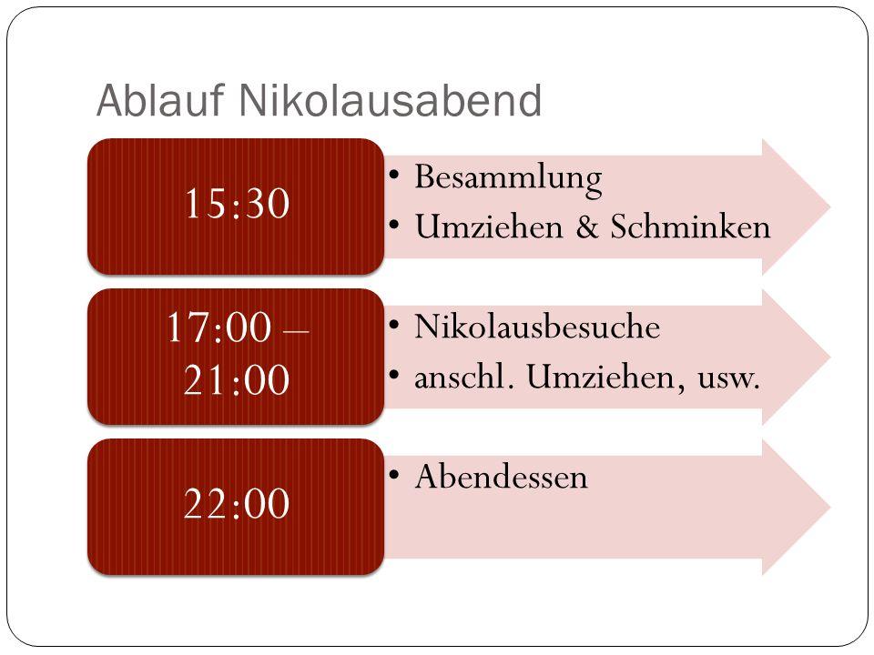 Ablauf Nikolausabend 15:30 Besammlung Umziehen & Schminken