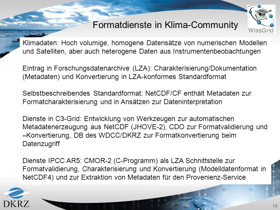 Formatdienste in Klima-Community