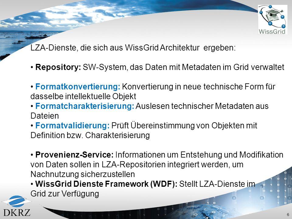 LZA-Dienste, die sich aus WissGrid Architektur ergeben: