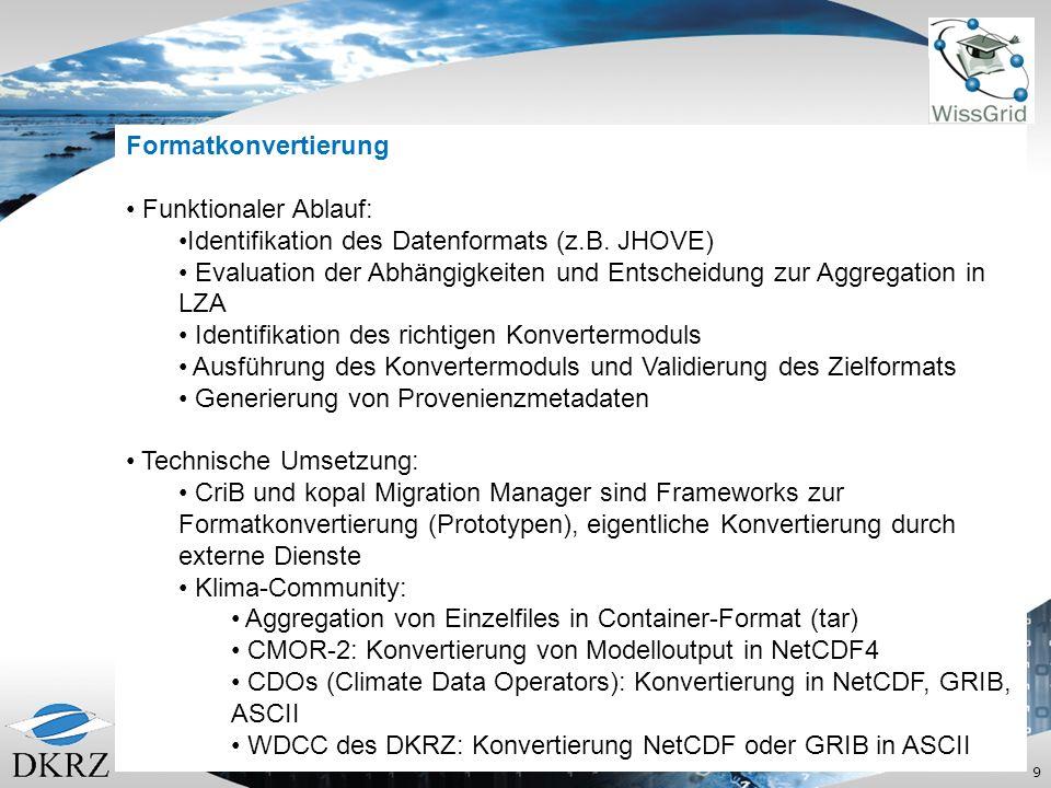 Formatkonvertierung Funktionaler Ablauf: Identifikation des Datenformats (z.B. JHOVE)