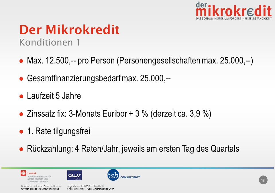 Der Mikrokredit Konditionen 1