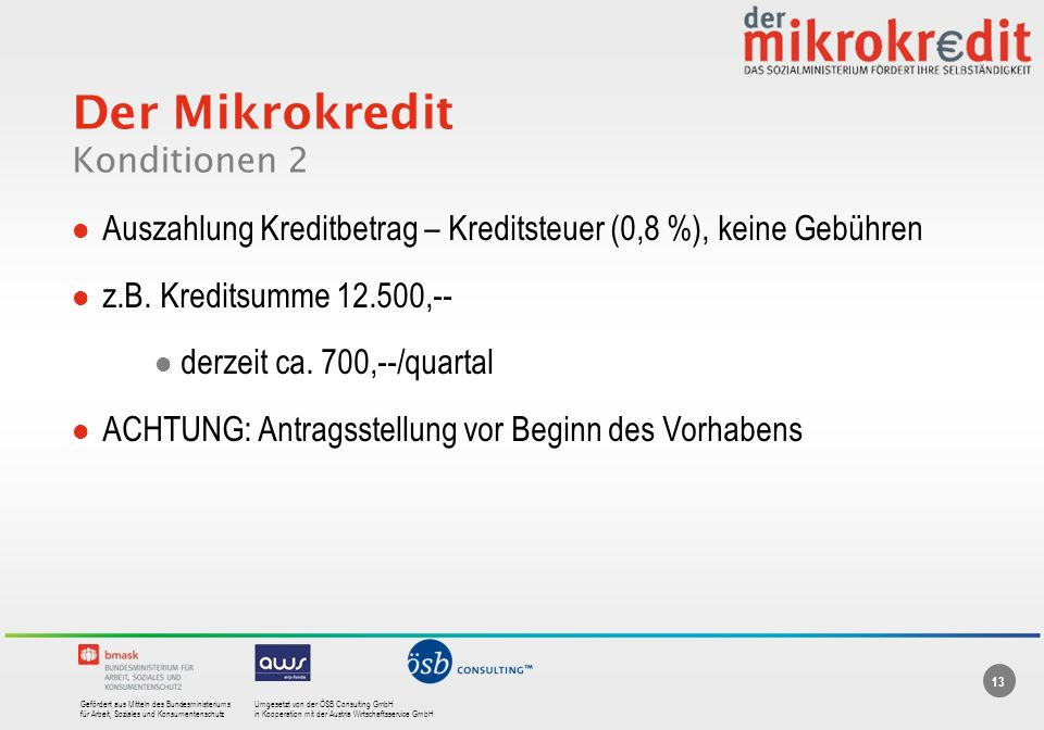 Der Mikrokredit Konditionen 2