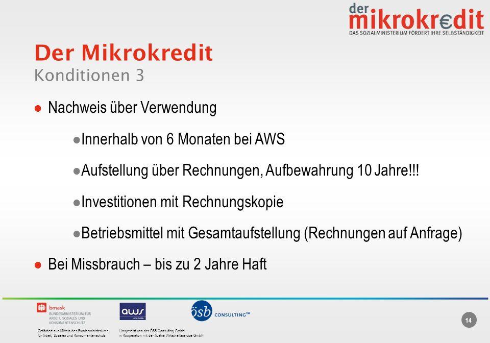 Der Mikrokredit Konditionen 3