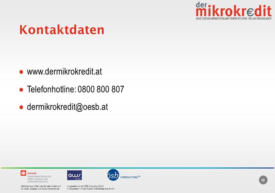 Kontaktdaten www.dermikrokredit.at Telefonhotline: 0800 800 807