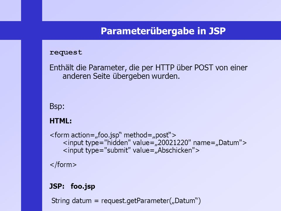 Parameterübergabe in JSP