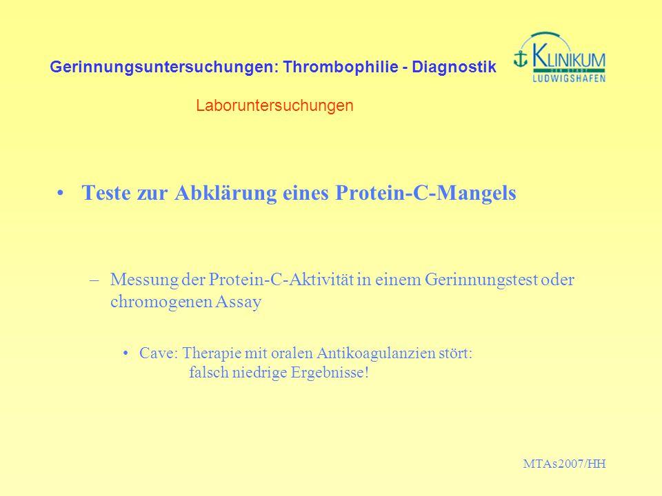 Teste zur Abklärung eines Protein-C-Mangels