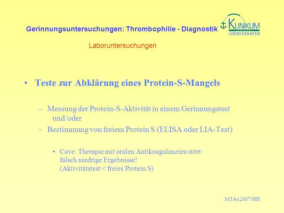 Teste zur Abklärung eines Protein-S-Mangels