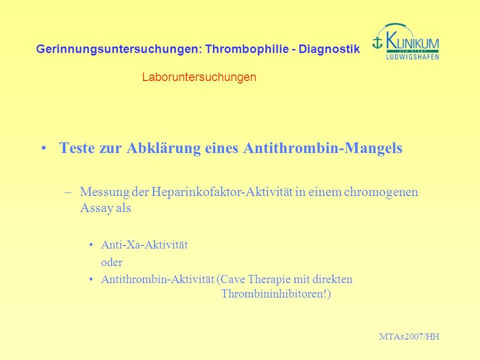 Teste zur Abklärung eines Antithrombin-Mangels