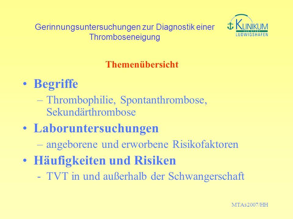 Gerinnungsuntersuchungen zur Diagnostik einer Thromboseneigung