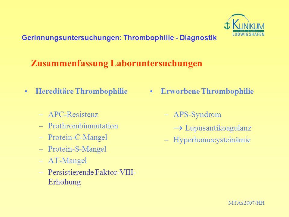 Gerinnungsuntersuchungen: Thrombophilie - Diagnostik