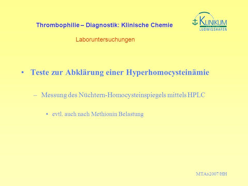 Thrombophilie – Diagnostik: Klinische Chemie Laboruntersuchungen