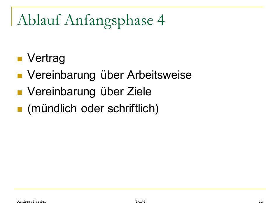 Ablauf Anfangsphase 4 Vertrag Vereinbarung über Arbeitsweise