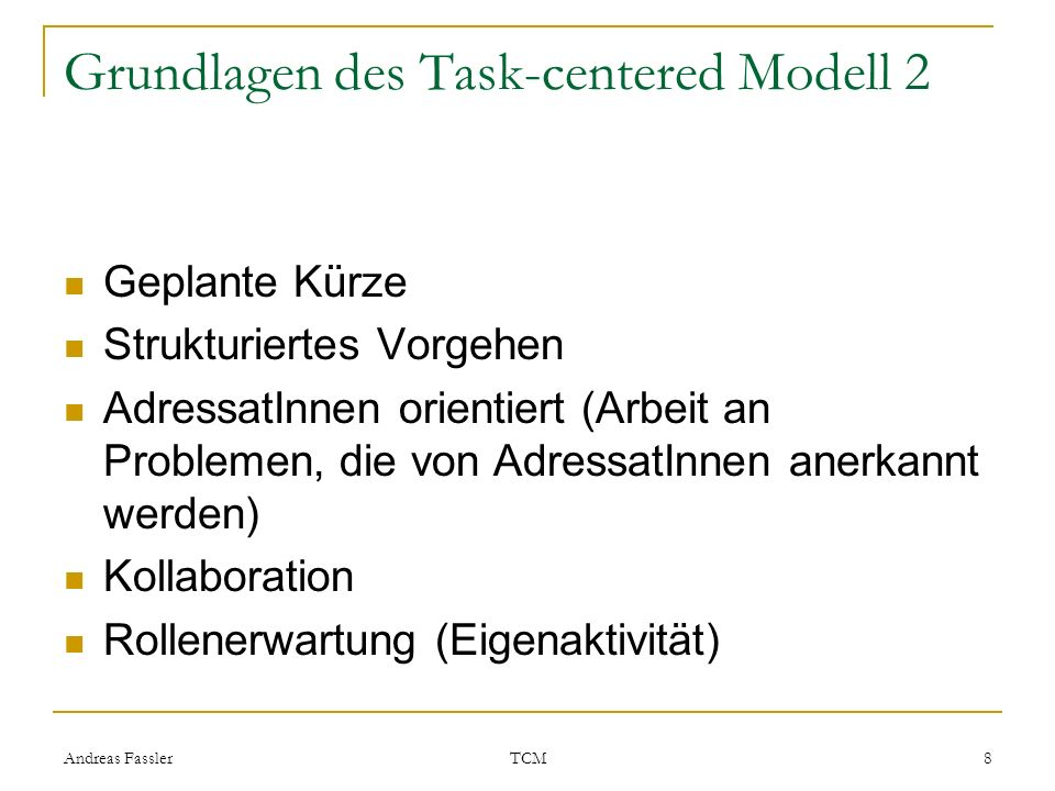 Grundlagen des Task-centered Modell 2
