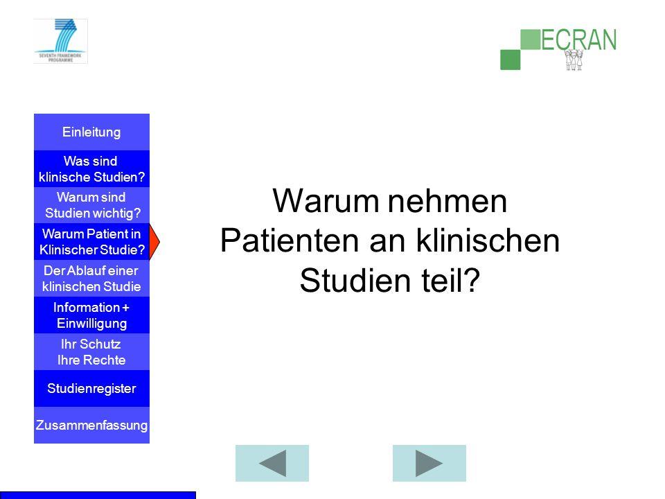 Warum nehmen Patienten an klinischen Studien teil