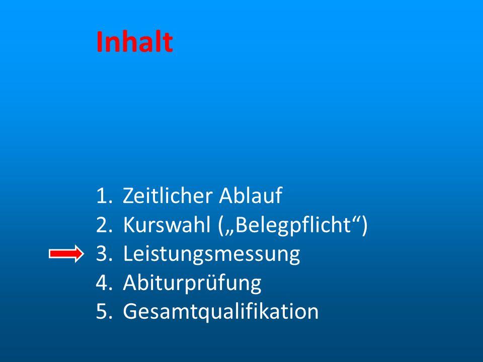 """Inhalt Zeitlicher Ablauf Kurswahl (""""Belegpflicht ) Leistungsmessung"""