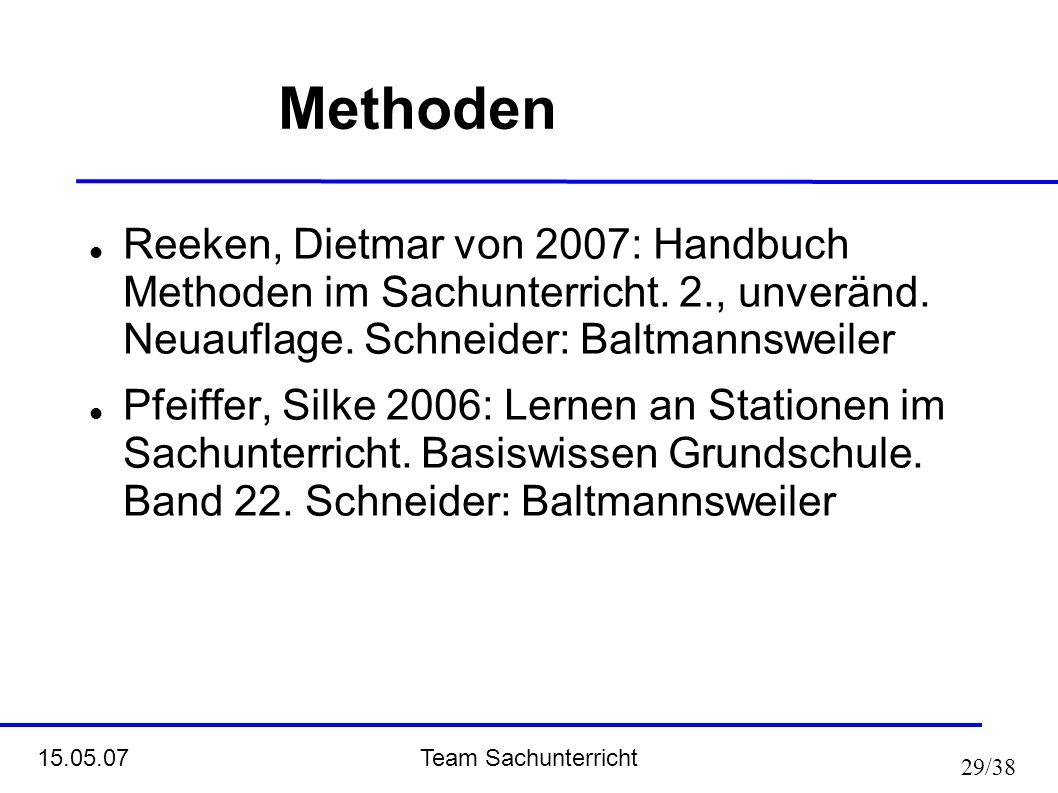 Methoden Reeken, Dietmar von 2007: Handbuch Methoden im Sachunterricht. 2., unveränd. Neuauflage. Schneider: Baltmannsweiler.