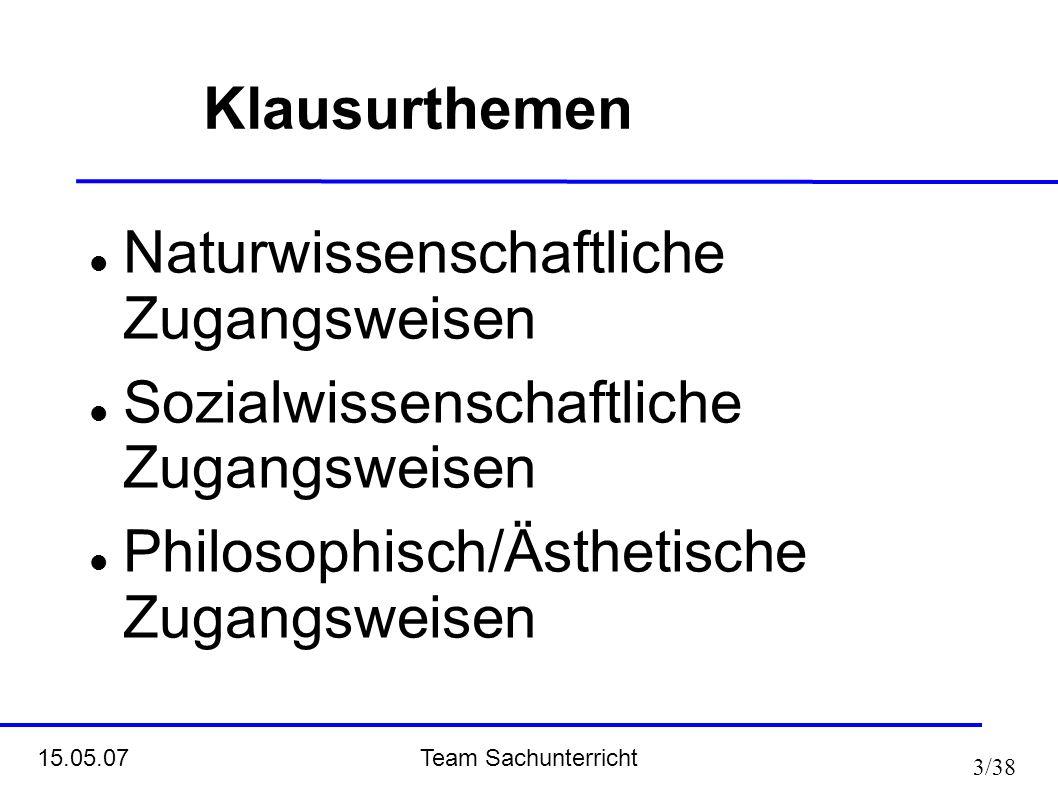 Klausurthemen Naturwissenschaftliche Zugangsweisen.