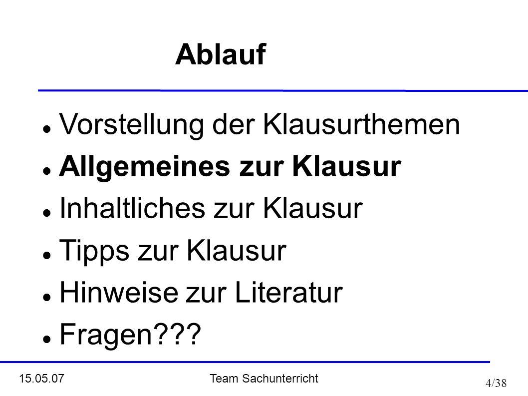 Ablauf Vorstellung der Klausurthemen. Allgemeines zur Klausur. Inhaltliches zur Klausur. Tipps zur Klausur.