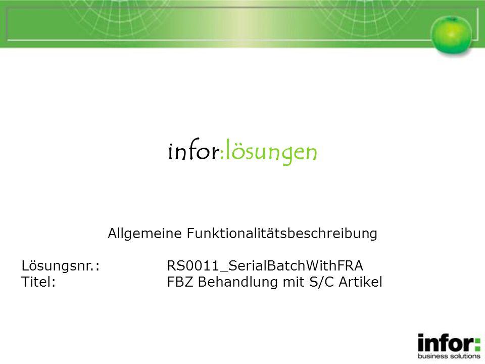 FBZ Behandlung mit S/C Artikel