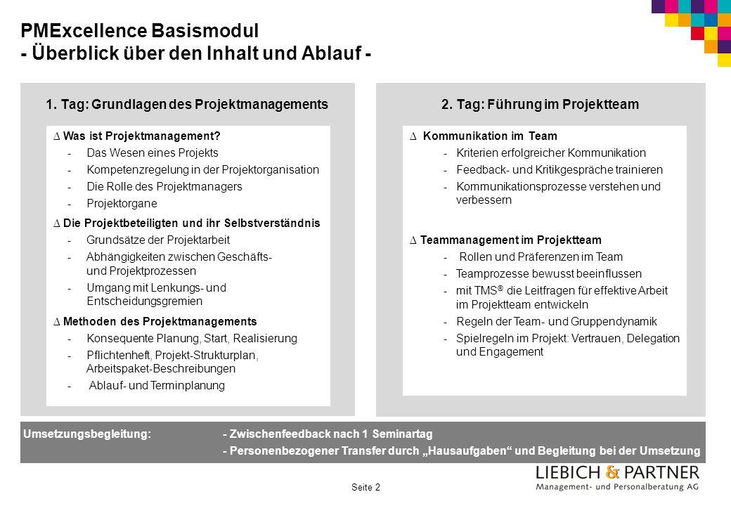 PMExcellence Basismodul - Überblick über den Inhalt und Ablauf -