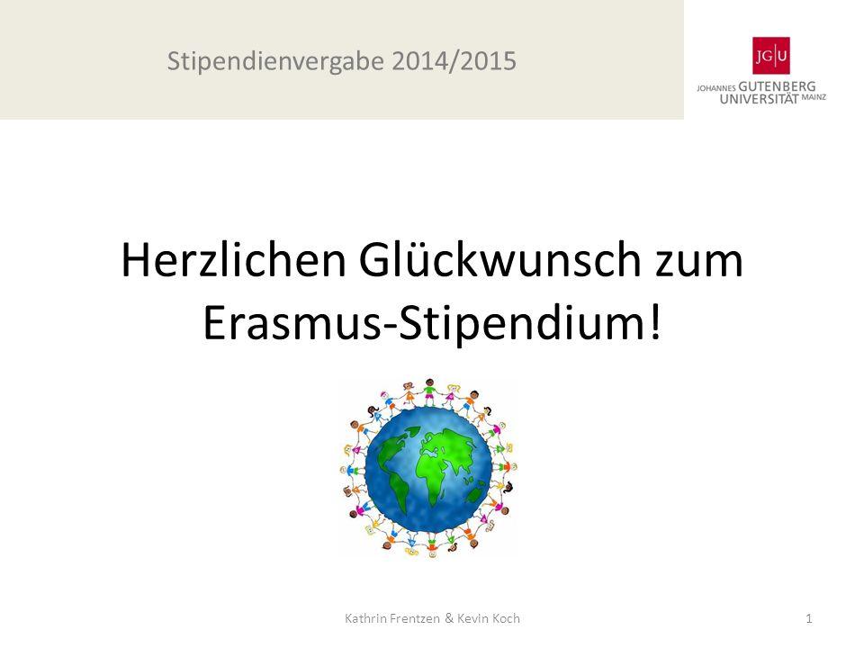 Herzlichen Glückwunsch zum Erasmus-Stipendium!