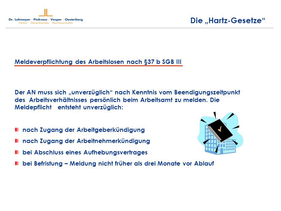 """Die """"Hartz-Gesetze Meldeverpflichtung des Arbeitslosen nach §37 b SGB III."""