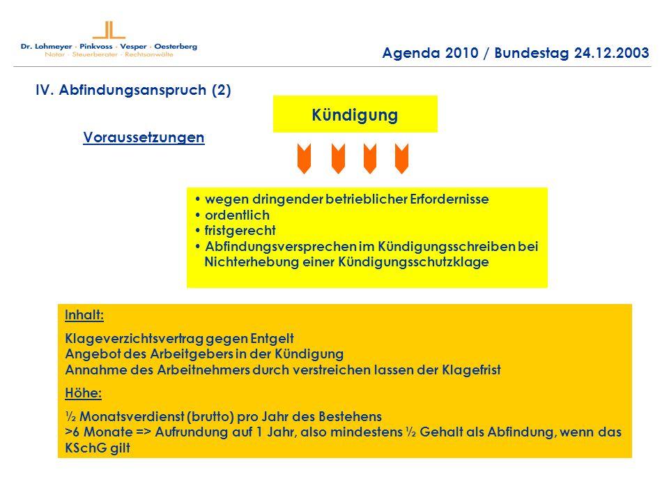 Kündigung Agenda 2010 / Bundestag 24.12.2003