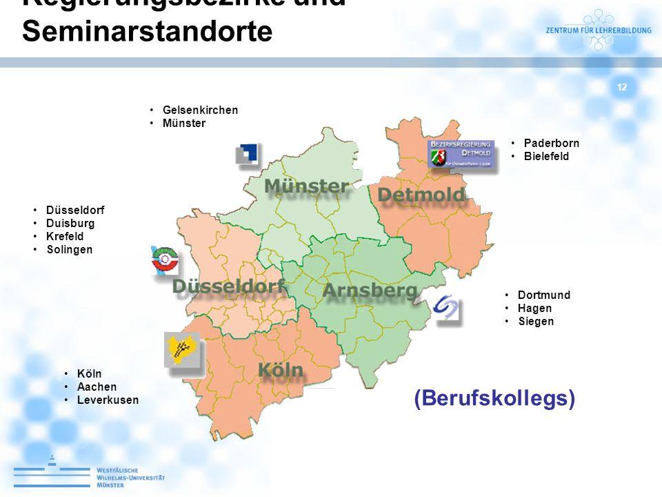 Regierungsbezirke und Seminarstandorte