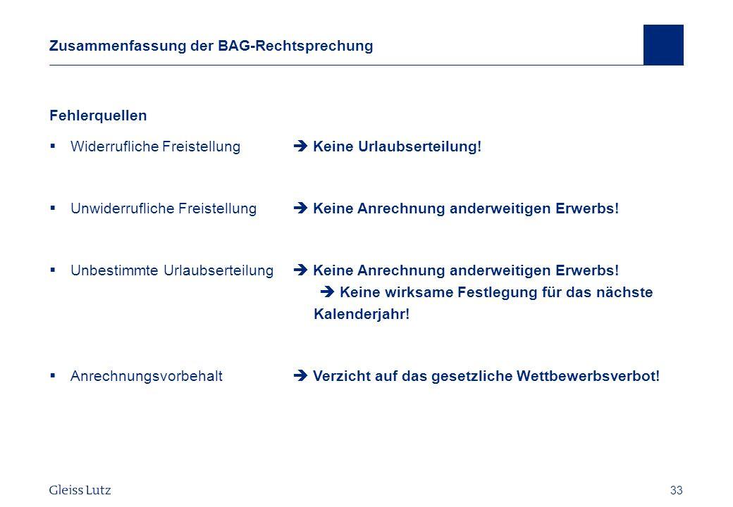 Zusammenfassung der BAG-Rechtsprechung