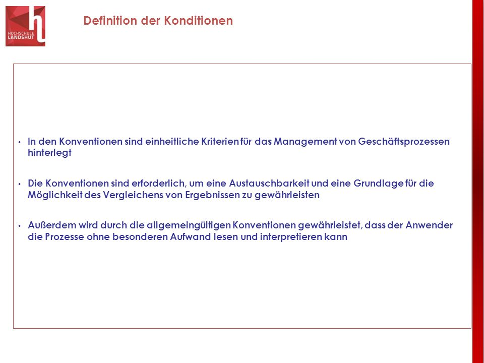 Definition der Konditionen