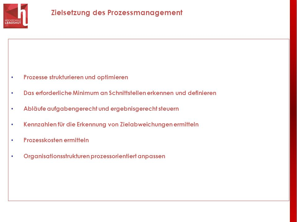 Zielsetzung des Prozessmanagement