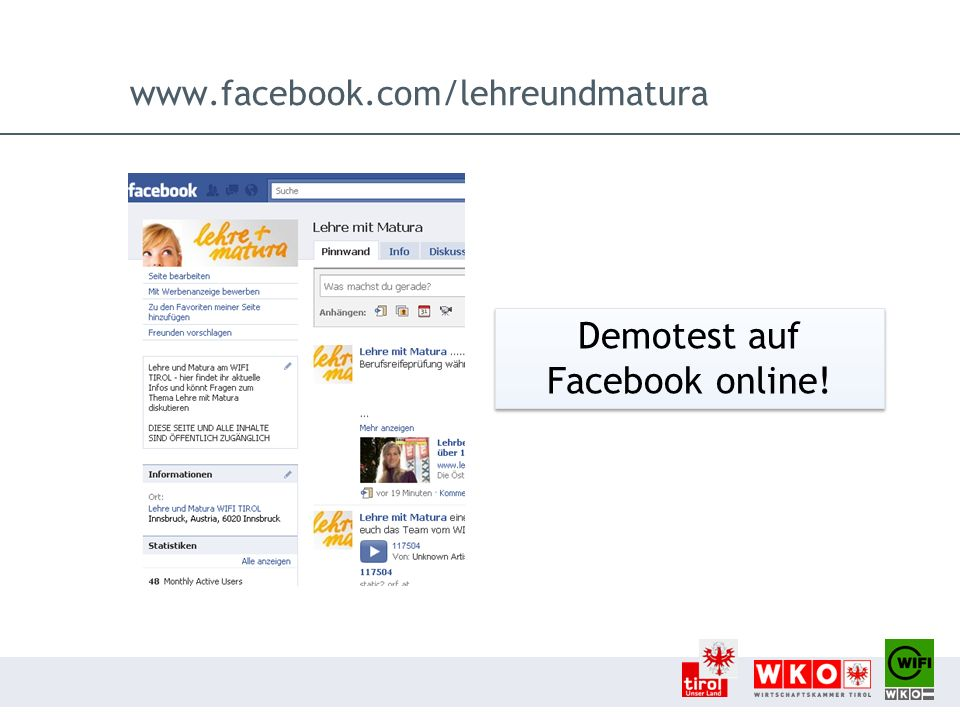 Demotest auf Facebook online!