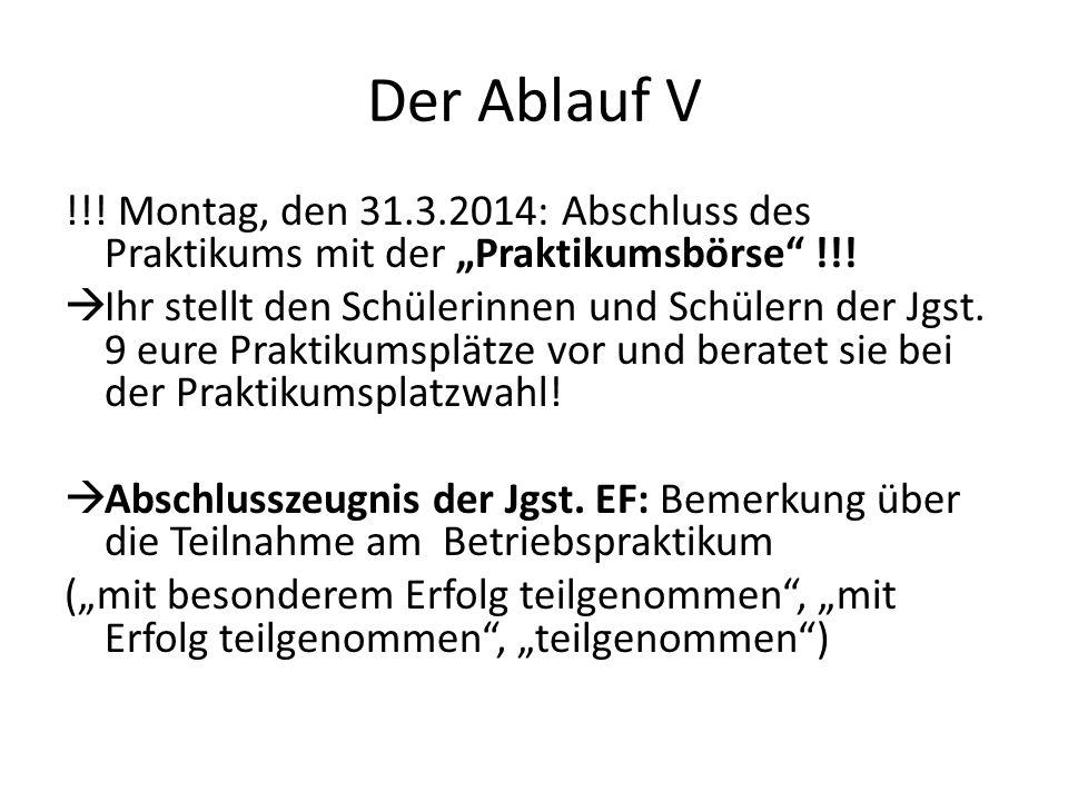 """Der Ablauf V !!! Montag, den 31.3.2014: Abschluss des Praktikums mit der """"Praktikumsbörse !!!"""