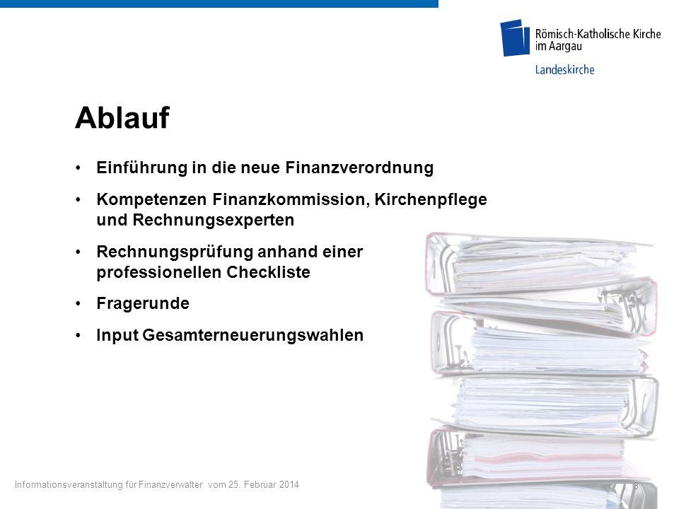 Ablauf Einführung in die neue Finanzverordnung