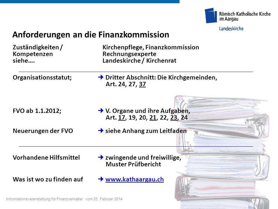 Anforderungen an die Finanzkommission