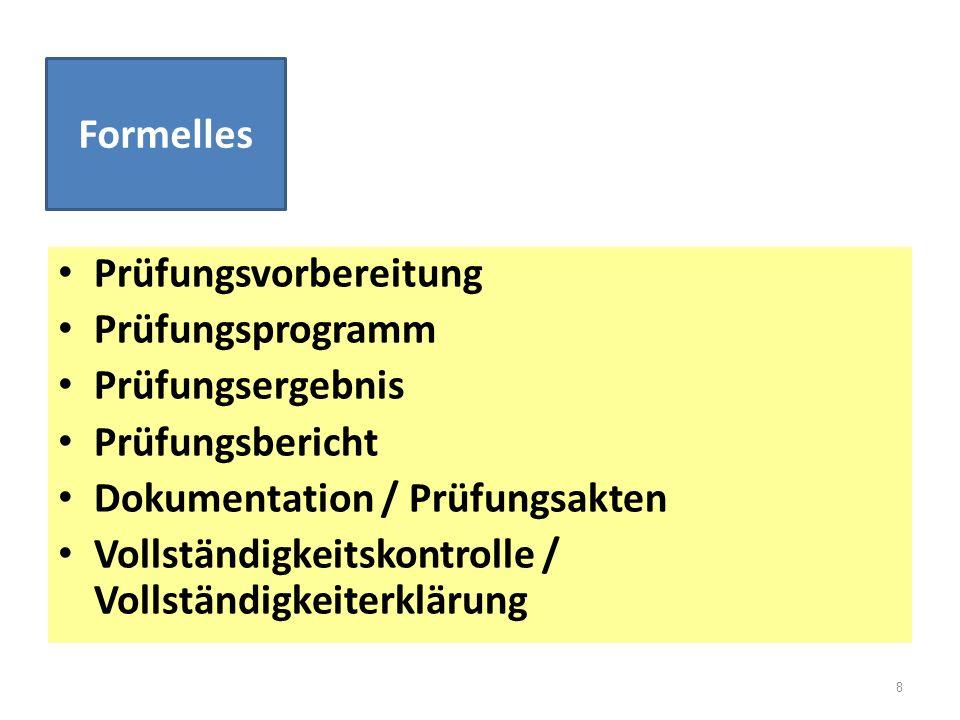 Formelles Prüfungsvorbereitung. Prüfungsprogramm. Prüfungsergebnis. Prüfungsbericht. Dokumentation / Prüfungsakten.
