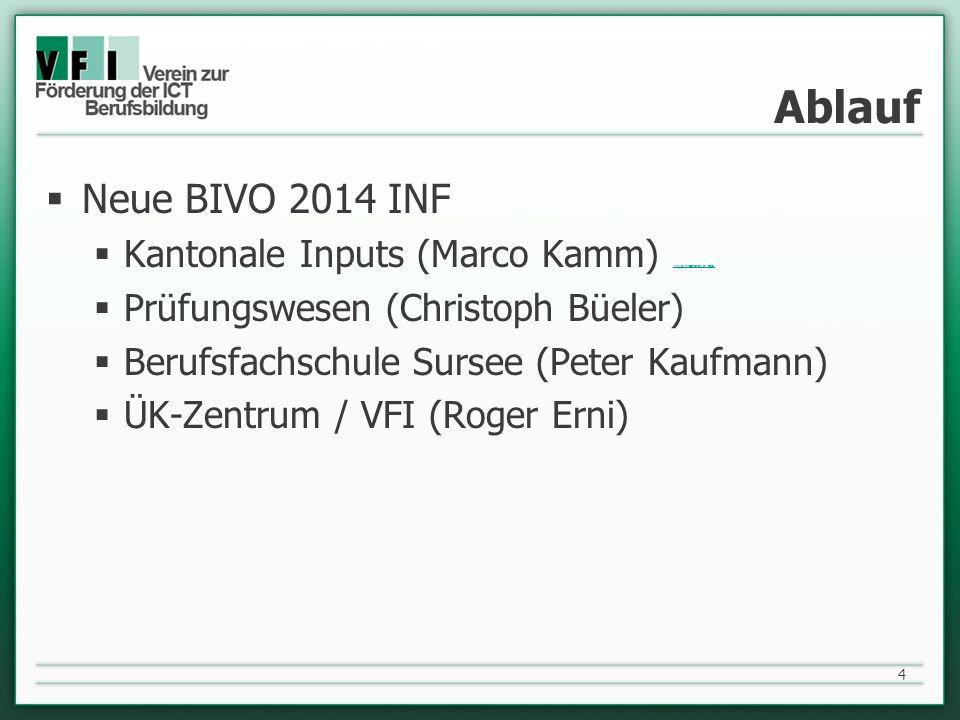 Ablauf Neue BIVO 2014 INF. Kantonale Inputs (Marco Kamm) (link zur Präsentation von Marco) Prüfungswesen (Christoph Büeler)
